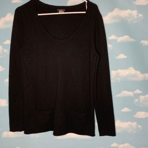 J Crew- Black Cashmere Scoop neck Top size Large